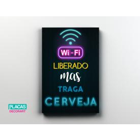 placa decorativa wifi loja copos