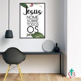 quadro decorativo jesus tem nome mokup preto decora cristao
