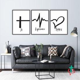 quadro decorativo fe esperanca amor mockup preto decora cristao